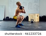 young athletic man doing squats ... | Shutterstock . vector #461233726