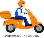 boy riding scooter | Shutterstock .eps vector #461238502