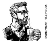 Barista Hipster Holding A Cup...