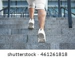 young man running on stairs   Shutterstock . vector #461261818