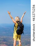 female traveler stands on a... | Shutterstock . vector #461271256