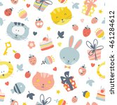 Cute Seamless Pattern With Cat...