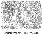 vector coloring page of floral  ... | Shutterstock .eps vector #461292988
