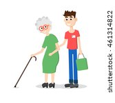 man helping elder. boy helps... | Shutterstock . vector #461314822