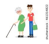 man helping elder. boy helps... | Shutterstock . vector #461314822
