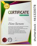 certificate template  signs ... | Shutterstock .eps vector #461320078