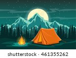 family adventure camping... | Shutterstock .eps vector #461355262
