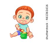 cute little baby boy with red... | Shutterstock .eps vector #461361616