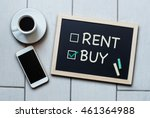 buy not rent blackboard concept.... | Shutterstock . vector #461364988