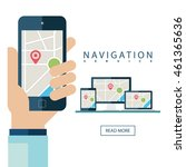 gps services concept. desktop... | Shutterstock .eps vector #461365636