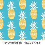 pineapple texture with hand... | Shutterstock .eps vector #461367766