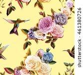 humming bird  roses  peony on... | Shutterstock .eps vector #461380726
