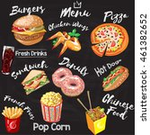chalkboard fastfood restaurant... | Shutterstock .eps vector #461382652