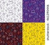 line icons vector seamless... | Shutterstock .eps vector #461390446
