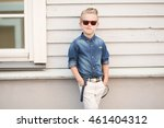 trendy boy in sunglasses in a... | Shutterstock . vector #461404312