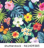 tropical seamless pattern with... | Shutterstock .eps vector #461409385
