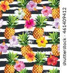 hawaiian seamless pattern with... | Shutterstock .eps vector #461409412