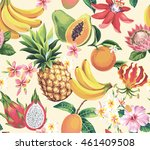 hawaiian seamless pattern with... | Shutterstock .eps vector #461409508