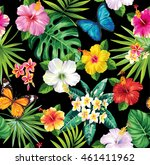 seamless pattern with tropical... | Shutterstock .eps vector #461411962