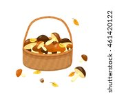 Wicker Basket With Mushrooms I...