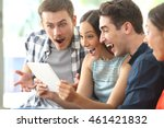 four amazed friends watching... | Shutterstock . vector #461421832