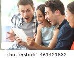 four amazed friends watching...   Shutterstock . vector #461421832