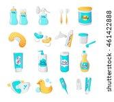 vector baby accessories icons...   Shutterstock .eps vector #461422888