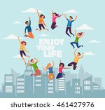 group of young  smiling people... | Shutterstock .eps vector #461427976
