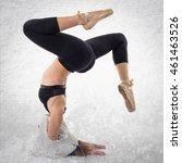 young girl dancing over... | Shutterstock . vector #461463526