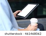 woman holding mockup tablet and ... | Shutterstock . vector #461468062