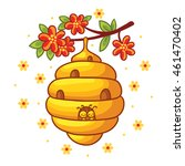 beehive weighs on a branch with ... | Shutterstock .eps vector #461470402