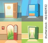 open door cartoon vector... | Shutterstock .eps vector #461483932