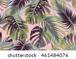 tropical palm leaves  jungle...   Shutterstock .eps vector #461484076