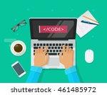 programmer coding on laptop... | Shutterstock .eps vector #461485972