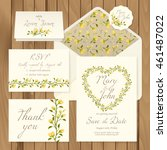 vector set of vintage floral... | Shutterstock .eps vector #461487022