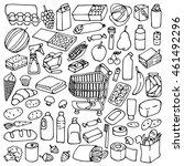 hand drawn supermarket elements ... | Shutterstock .eps vector #461492296