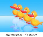 four cute ducklings on blue and ...   Shutterstock . vector #4615009