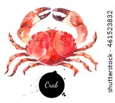watercolor hand drawn crab.... | Shutterstock . vector #461523832