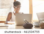 young female freelancer working ... | Shutterstock . vector #461534755