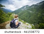 hiker young woman with backpack ... | Shutterstock . vector #461538772