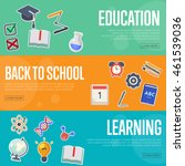 back to school banner with flat ... | Shutterstock .eps vector #461539036