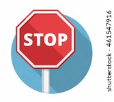 stop sign  flat design  vector... | Shutterstock .eps vector #461547916
