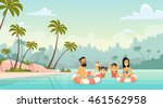 family swimming holiday sea... | Shutterstock .eps vector #461562958