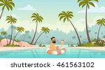 man swimming with lifebuoy... | Shutterstock .eps vector #461563102