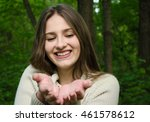Young Woman Face And Hands Ove...