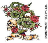 vector snake and skull tattoo... | Shutterstock .eps vector #461598136