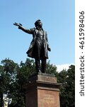 Small photo of St. Petersburg, Russia - July 27, 2016 - Monument to Alexander Pushkin the great Russian poet on Arts Square in front of the State Russian Museum, in July 27, 2016 in St. Petersburg, Russia.