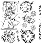 graphic set with vintage clock... | Shutterstock .eps vector #461601232