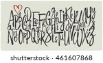 hand drawn vector alphabet.... | Shutterstock .eps vector #461607868