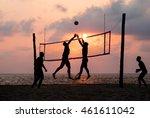 silhouette of beach volleyball... | Shutterstock . vector #461611042